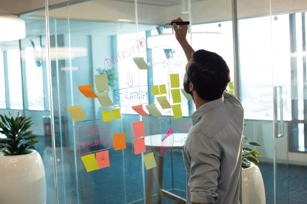 Businessman planning on glass