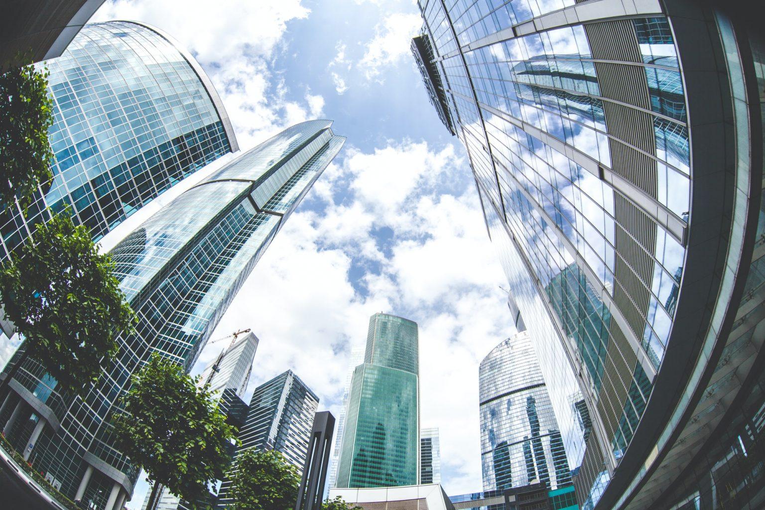 urban landscape of city skyscrapers, fish eye